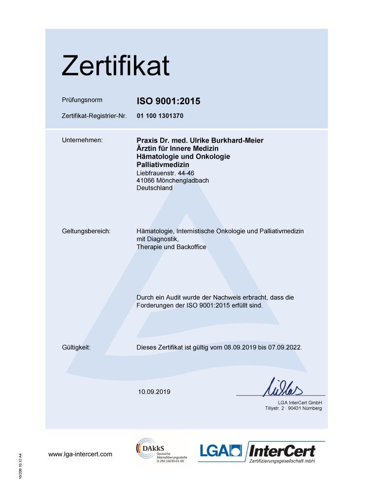 Dr Burkhard Meier Zertifikat 2019